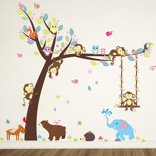 Animaux Stickers muraux Autocollants muraux animaux Autocollants muraux décoratifs, Vinyle Décoration d'intérieur Calque Mural Mur / Fenêtre Décoration 2pcs / Amovible / Repositionable