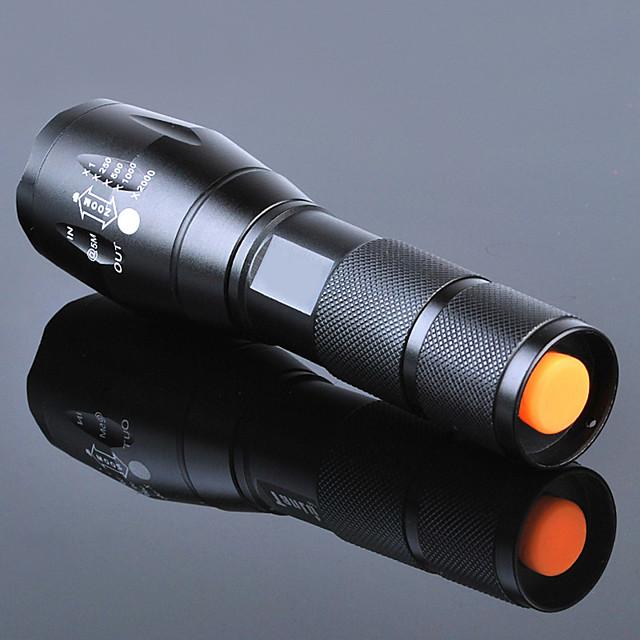 Lampes Torches LED Imperméable Rechargeable 3000 lm LED Émetteurs 5 Mode d'Eclairage avec Pile et Chargeur Imperméable Fonction Zoom Rechargeable Faisceau Ajustable Ultra léger Haute Puissance