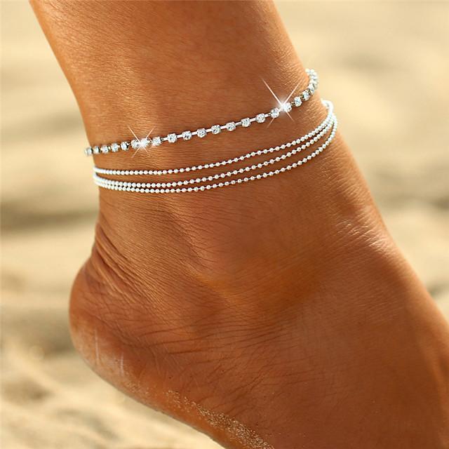 Bracelet de cheville bijoux de pieds Délicatesse dames Bohème Femme Bijoux de Corps Pour Cadeau Sortie Multirang Empilable Cristal Alliage Argent