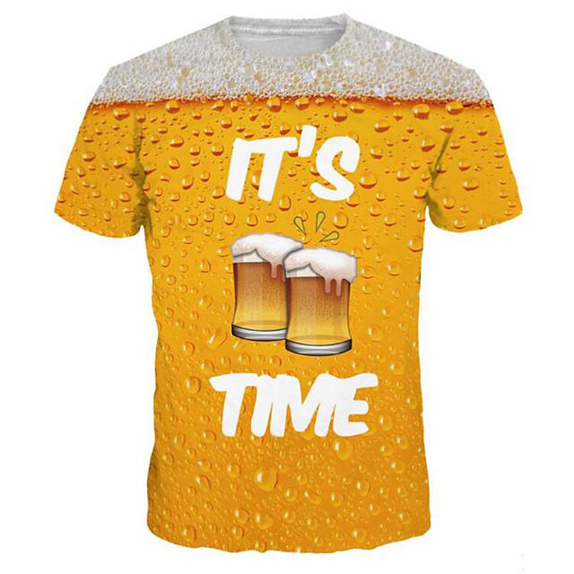 Homme T-shirt Graphique Bière Grandes Tailles Imprimé Manches Courtes Quotidien Hauts basique Exagéré Jaune