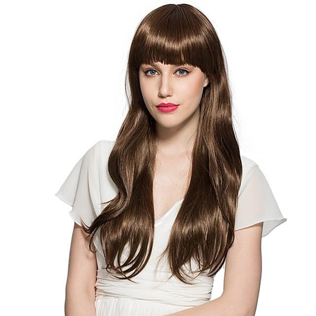 Perruque Synthétique Bouclé Bob Coupe Carré Perruque Long Noir / Brun Cheveux Synthétiques Femme Ligne de Cheveux Naturelle Marron foncé