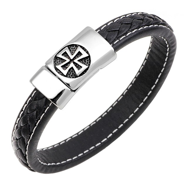 Bracelet Jonc Bracelets en cuir Homme Magnétique Cuir Acier Inoxydable Croix Croix de cercle Classique Punk Mode Bracelet Bijoux Bleu de minuit Café Marron pour Cadeau Travail