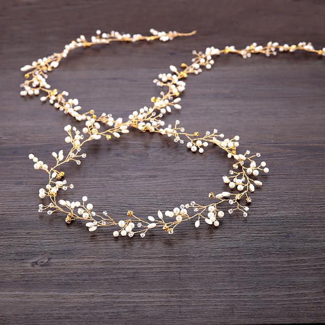 Imitation de perle / Fil de cuivre Bandeaux / Casque / Chaîne de tête avec Perle fausse / Détail Cristal 1pc Mariage Casque