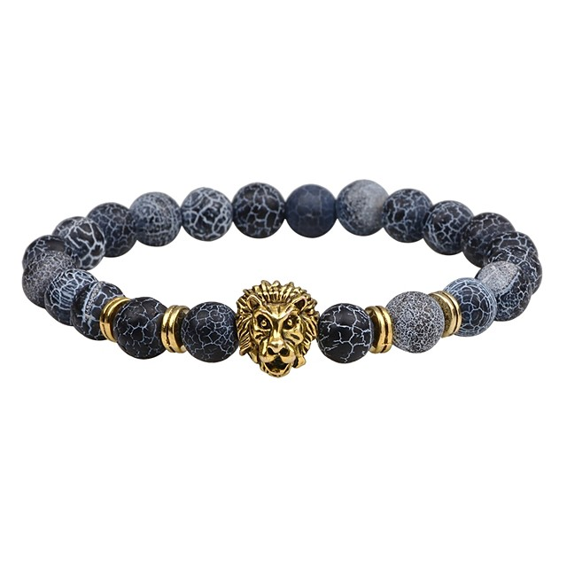 Men's Natural Stone Bead Bracelet Beads Lion Chakra Vintage Fashion equilibrio Stone Bracelet Jewelry Black / Silver / Brown For Gift Street