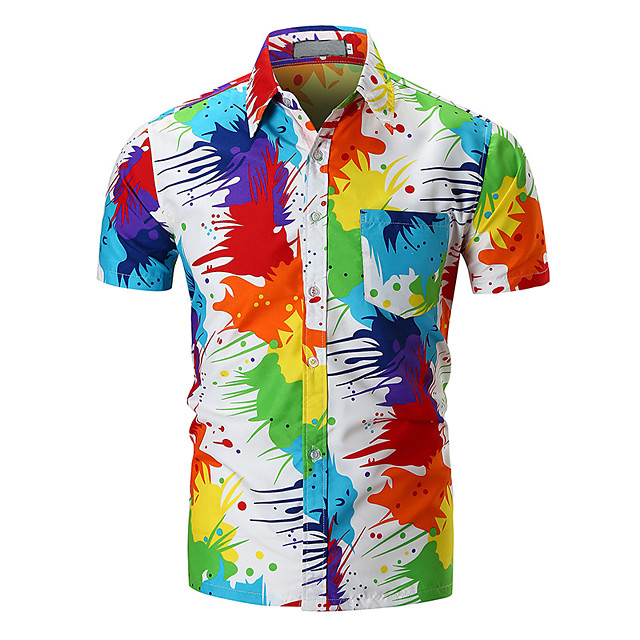 Men's Shirt Rainbow Short Sleeve Daily Tops Basic Rainbow