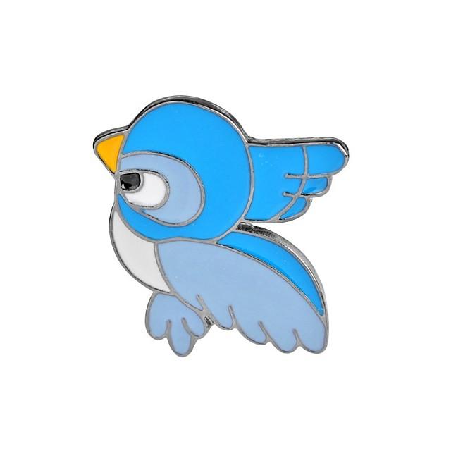 Broche Oiseau Animal Flamant dames Rétro Vintage Dessin Animé Mode Broche Bijoux Bleu clair Pour Soirée Anniversaire