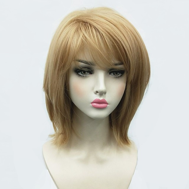 Synthetic Wig Straight Bob Side Part Wig Blonde Medium Length Blonde Synthetic Hair Women's African American Wig Blonde StrongBeauty