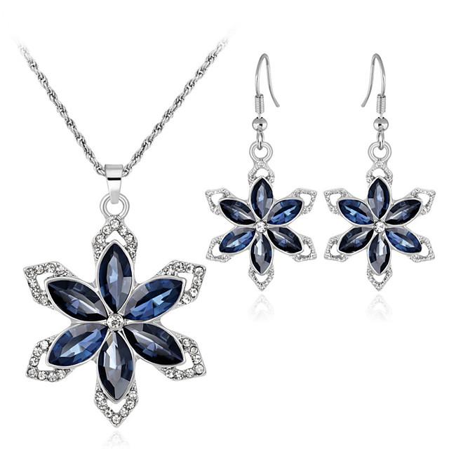 Cristal Seturi de bijuterii Cercei Picătură Coliere cu Pandativ Floare Fulg femei Dulce Modă Elegant cercei Bijuterii Argintiu Pentru Nuntă Petrecere Cadou / Seturi de bijuterii de mireasă