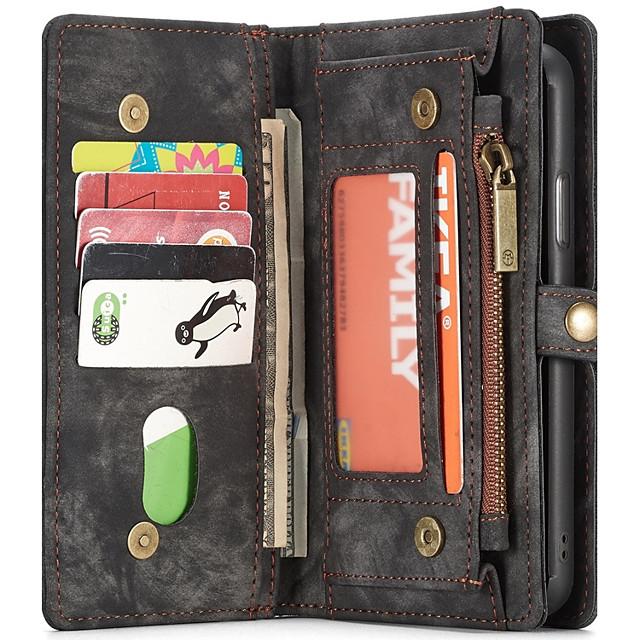 Кейс для Назначение Apple iPhone X / iPhone 8 Pluss / iPhone 8 Кошелек / Бумажник для карт / со стендом Чехол Однотонный Твердый Кожа PU