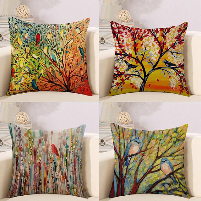 4 housses de coussin en coton / faux lin, floral floral&Plantes rustique carré traditionnel classique maison canapé décoratif coussin extérieur pour canapé canapé lit chaise