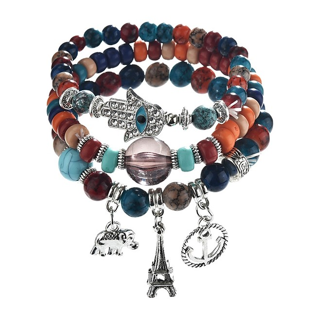 1 strand braided bracelet Boho 3D beads wire-wrapped bracelets Leather strip bracelet *