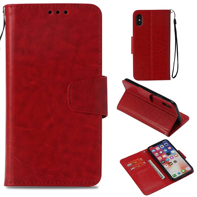 Case For Apple iPhone XS / iPhone XR / iPhone XS Max Wallet / Card Holder / Magnetic Full Body Cases Solid Colored Hard PU Leather