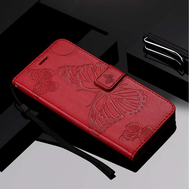 غطاء من أجل Samsung Galaxy J8 / J7 Duo / J6 محفظة / حامل البطاقات / مع حامل غطاء كامل للجسم فراشة قاسي جلد PU