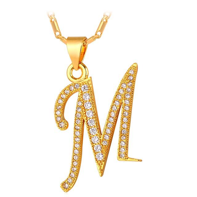 Collier Pendentif Homme Monogramme prénom Zircon Forme de Lettres Lettre Mode Dorée Argent 55 cm Colliers Tendance Bijoux pour Cadeau Quotidien