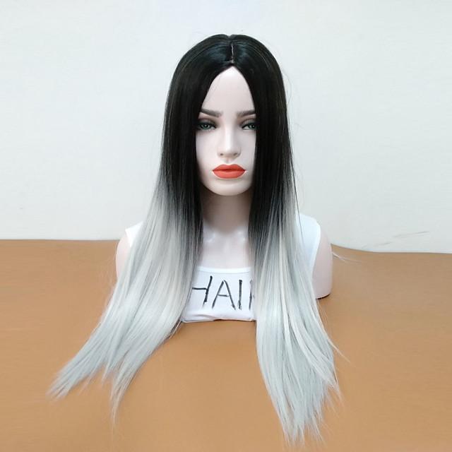 Perruque Synthétique Droit Partie médiane Perruque Long Gris noir Cheveux Synthétiques Femme Résistant à la chaleur Cheveux Colorés Gris