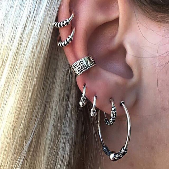 Boucles d'oreilles Clips Manchette oreille Géométrique Rétro Vintage Des boucles d'oreilles Bijoux Argent Pour Soirée Mascarade 7pcs