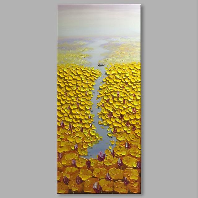 Peinture à l'huile Hang-peint Peint à la main Format Vertical Abstrait Paysage Contemporain Moderne Inclure cadre intérieur