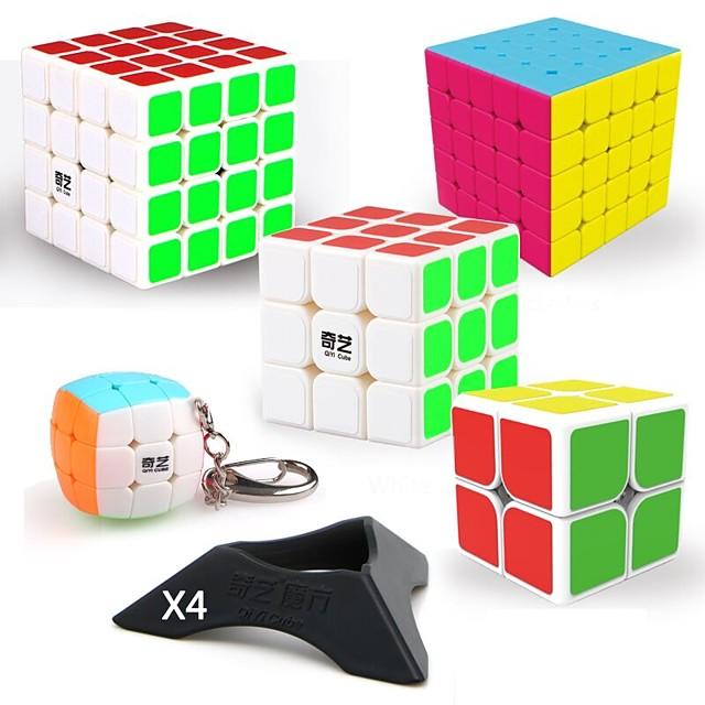 Set Speed Cube 9 pcs Cubo magico Cube intuitivo QIYI QIYI-A 2*2*2 3*3*3 4*4*4 Cubi Anti-stress Cubo a puzzle Adesivo liscio Livello professionale Per videogiochi Per bambini Teen Per adulto Giocattoli