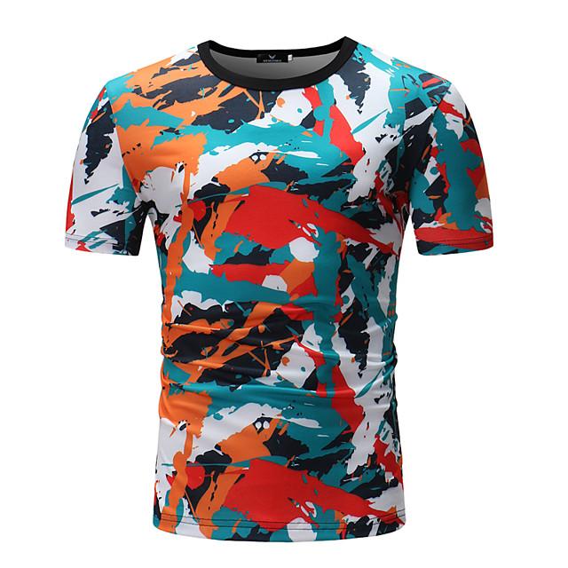 Homme T shirt Rayé Bloc de Couleur Géométrique Patchwork Imprimé Hauts Coton Arc-en-ciel