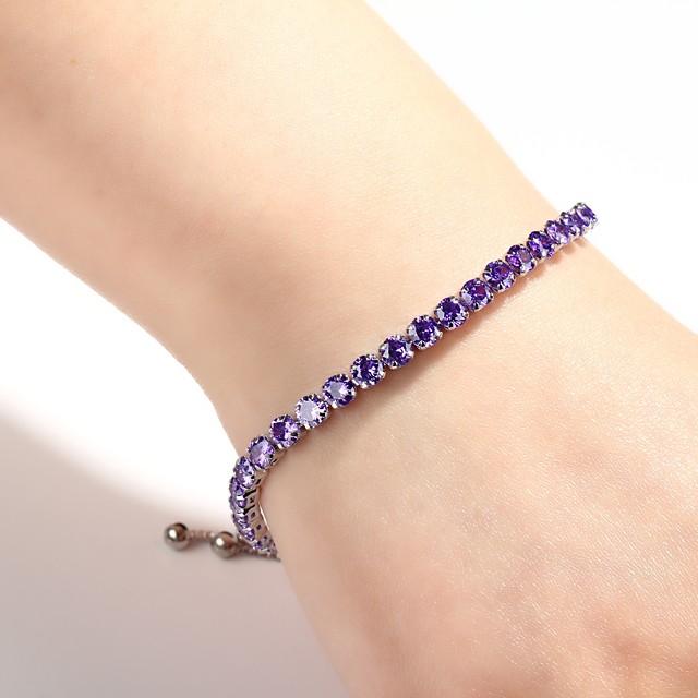 Breloque Charms Bracelet Bracelets Tennis Rivière de Diamants Femme Bordeaux Bracelet Bijoux Violet Argent Vert Forme Géométrique pour Quotidien