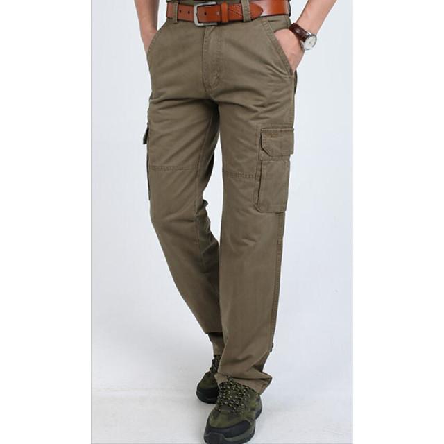Hombre Basico Militar Corte Ancho Diario Deportes Chinos Pantalones Tipo Cargo Pantalones Un Color Longitud Total Basico Negro Verde Ejercito Caqui 6659911 2021 36 99