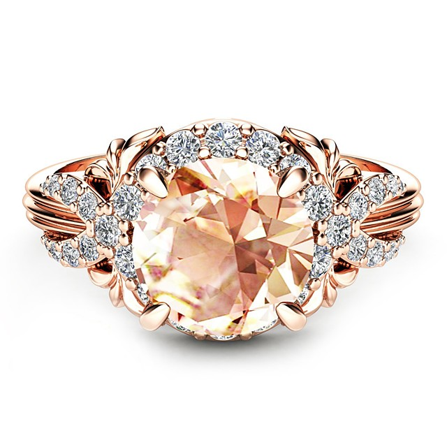 Kvinder Forlovelsesring Citrin Solitaire Lysebrun Kubisk Zirkonium Gullplatert rose 18K Rose Gold Plated Ball damer Klassisk Ferie 6 7 8 9 10 / Dame / Syntetisk Diamant / Oversized