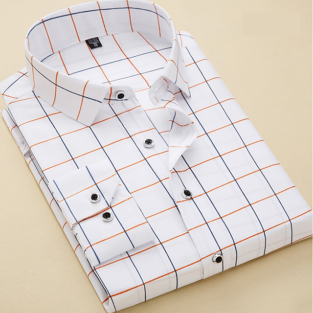 Men's Shirt Plaid Long Sleeve Daily Tops Business Basic White Navy Blue