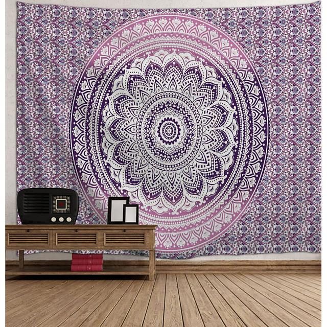 mandala bohème mur tapisserie art décor couverture rideau suspendu maison chambre salon dortoir décoration boho hippie psychédélique floral fleur lotus indien