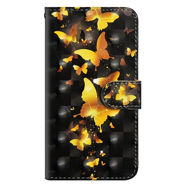 غطاء من أجل Samsung Galaxy J7 (2017) / J6 / J5 (2017) محفظة / حامل البطاقات / مع حامل غطاء كامل للجسم فراشة قاسي جلد PU