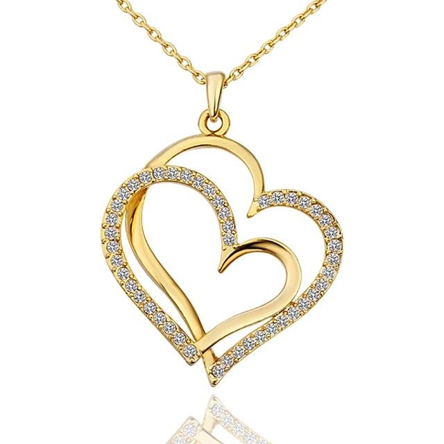 نسائي مكعب زركونيا الماس الصغيرة قلائد الحلي ابنة الأم قلب سيدات موضة مطلية بالذهب ذهبي روزي أبيض ذهبي 45+5 cm قلادة مجوهرات 1PC من أجل هدية مناسب للبس اليومي