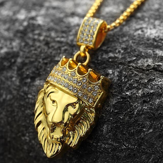 Herr Kubisk Zirkoniumoxid Hänge Halsband Engraverad franco chain Lejon King Krona Personlig Rock Hiphop Dubai 18K Guldpläterad Gult guld Diamantimitation Guld Golden Lion 2 Golden Lion 3 Golden Lion