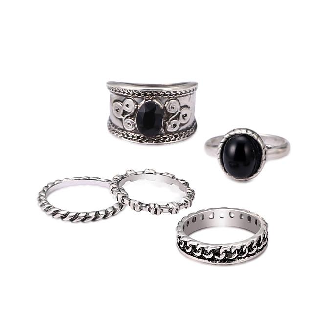 Homem Conjuntos de anéis Gema Preto Natural Lustres Prata Liga senhoras Boêmio Vintage 5pçs Ajustável / Casal / Conjunto de anéis