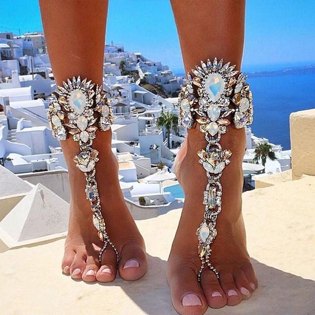 Barfotsandaler مجوهرات القدمين سيدات أوروبي بيكيني نسائي مجوهرات الجسم  من أجل مناسب للبس اليومي بيكيني سلسلة سميكة تقليد الماس سبيكة ذهبي فضي 1PC