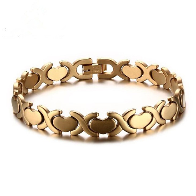 رجالي أسورة قلب موضة الصلب التيتانيوم مجوهرات سوار ذهبي / فضي من أجل هدية مناسب للبس اليومي / ستانلس ستيل