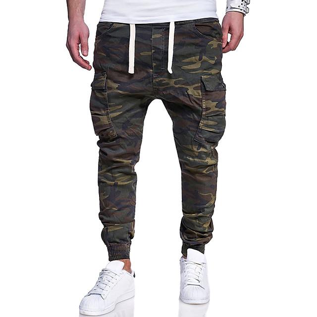 Homme basique Grandes Tailles Mince Quotidien Fin de semaine Chino Pantalon cargo Pantalon Bloc de Couleur camouflage Toute la longueur Imprimé Cordon Vert Véronèse