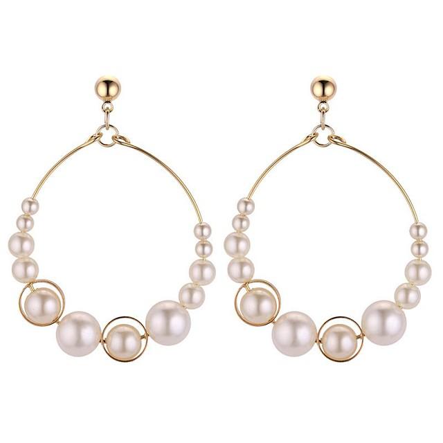 Femme Boucle d'Oreille Créoles Creux dames Doux Mode Imitation de perle Des boucles d'oreilles Bijoux Blanc Pour Fête / Soirée Rendez-vous 1 paire