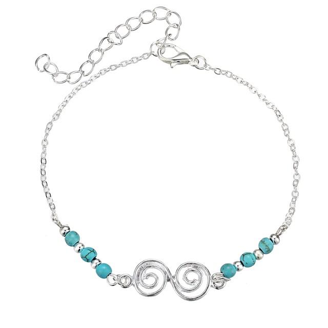 نسائي أساور السلسلة والوصلة عبارة سيدات موضة سبيكة مجوهرات سوار أزرق من أجل مناسب للبس اليومي رسمي