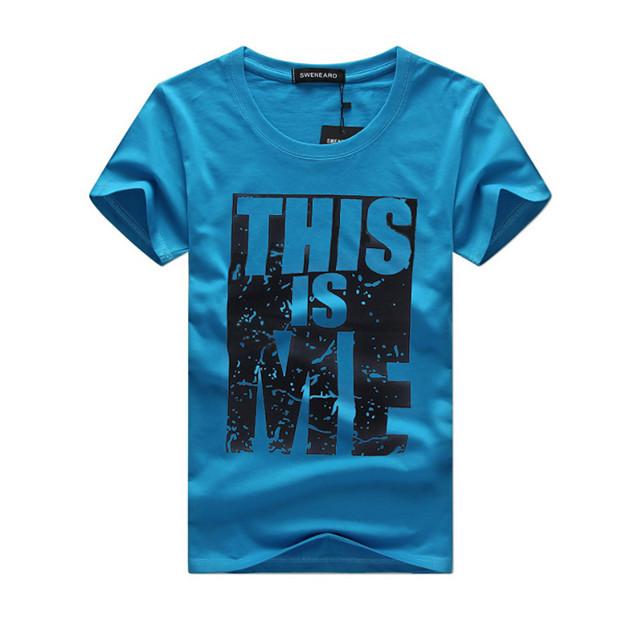 Homme T shirt Graphique Lettre Grandes Tailles Manches Courtes Sports Hauts Coton Chic de Rue Blanche Noir Bleu