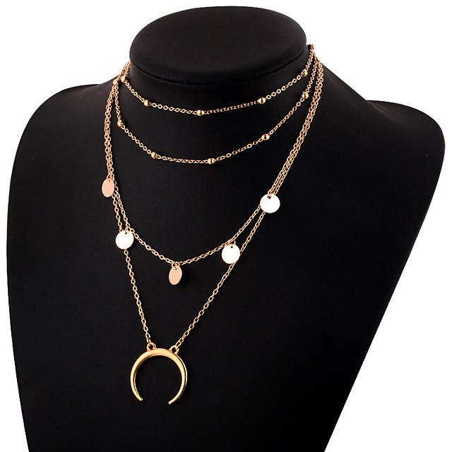 نسائي القلائد الطبقات متعدد الطبقات MOON الهلال قرن مزدوج سيدات بسيط أنيق سبيكة ذهبي فضي 30 cm قلادة مجوهرات 1PC من أجل مناسب للبس اليومي