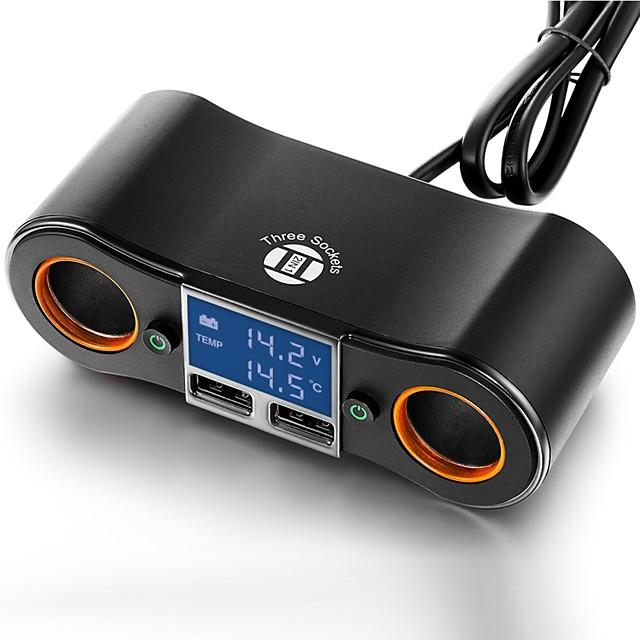 multi caricatore usb splitter di estensione presa a 2 vie per auto adattatore dc12v / 24v per tutti gli accessori per smartphone