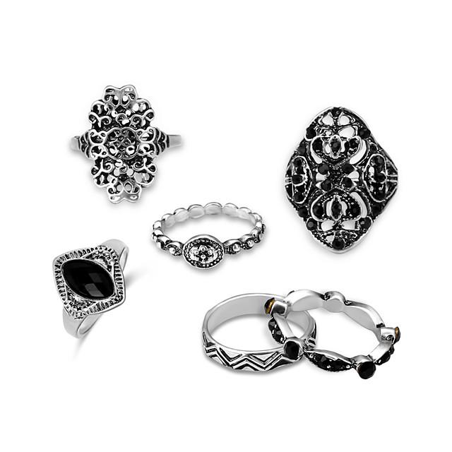 للرجال خاتم البيان أسود طبيعي الأحجار الكريمة مجوّف فضي سبيكة ريفي هيب هوب اليونان القديمة 6PCS قابل للتعديل / رجالي / خواتم مجموعة