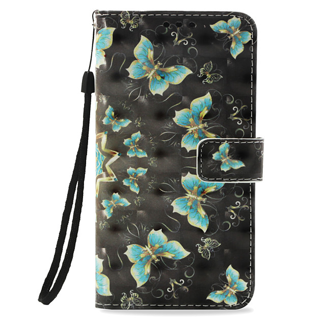 Case For Apple iPhone X / iPhone 8 Plus / iPhone 8 Card Holder / with Stand / Flip Full Body Cases Butterfly Hard PU Leather