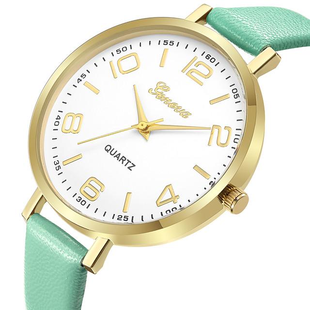 Geneva Mulheres Relógio Elegante Relógio de Pulso Quartzo senhoras Relógio Casual Analógico Preto Rosa claro Verde / Um ano / Couro / Um ano