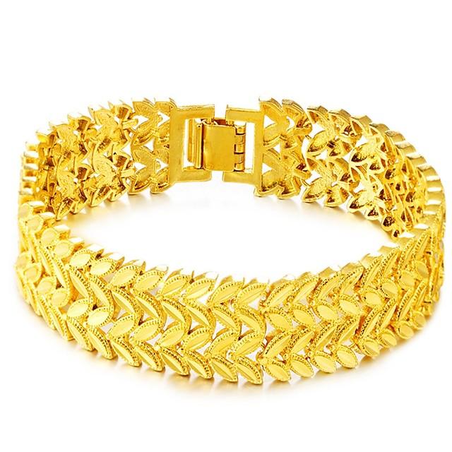 Chaînes Bracelets Homme Chaîne épaisse Forme de Feuille Luxe Rétro Vintage Mode Bracelet Bijoux Dorée Forme Géométrique pour Quotidien Vacances