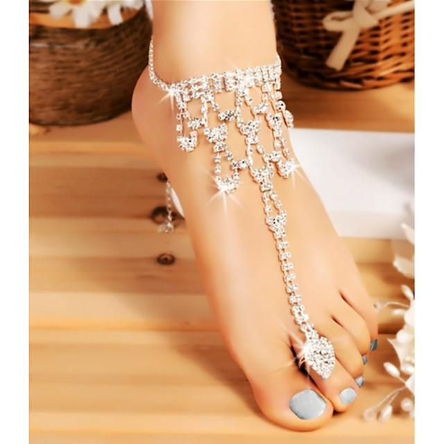 Barfotsandaler سيدات أنيق كلاسيكي نسائي مجوهرات الجسم  من أجل زفاف حفلة تنكرية سلسلة سميكة حجر الراين سبيكة فضي 1PC