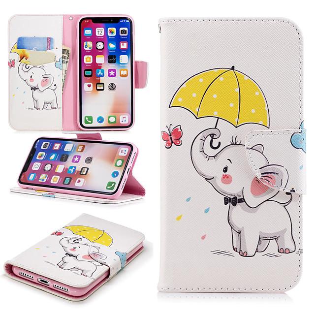 غطاء من أجل Apple iPhone X / iPhone 8 Plus / iPhone 8 محفظة / حامل البطاقات / مع حامل غطاء كامل للجسم حيوان / فيل قاسي جلد PU
