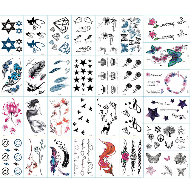 30 pcs ملصقات الوشم الوشم المؤقت سلسلة الطوطم / سلسلة الحيوانات / سلسلة الزهور الفنون الجسم ذراع