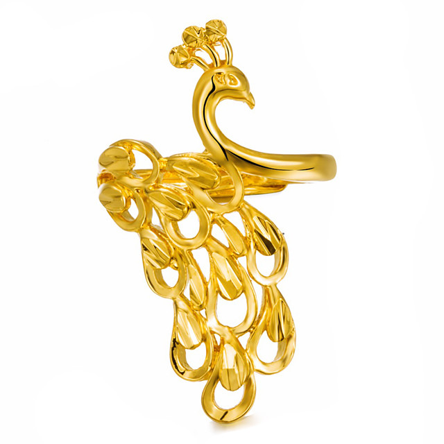 للنساء خاتم البيان أشكال النحت ذهبي مطلية بالذهب سيدات موضة 1PC قابل للتعديل / نسائي