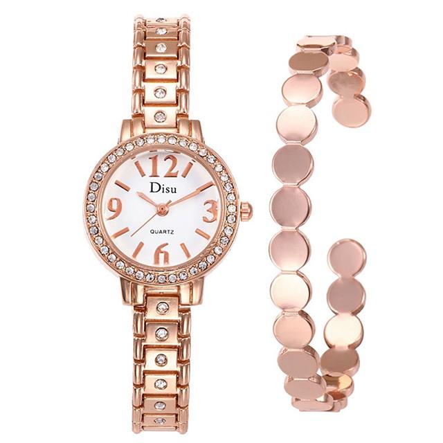 여성용 드레스 시계 팔찌 시계 다이아몬드 시계 석영 커프 숙녀 창조적 아날로그 블랙 골드 실버 / 스테인레스 스틸 / 스테인레스 스틸