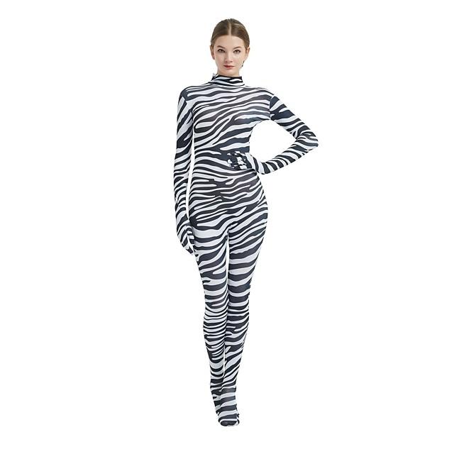 Ternos Zentai com Padrão Fantasias de Cosplay Adulto Elastano Licra Fantasias de Cosplay Zebra Dia Das Bruxas Carnaval Baile de Máscaras / Elasticidade Alta